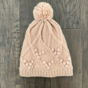 Forever 21 Fleece Lined Blush Pink Pom Beanie
